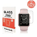 [2 Pack] Apple Watch 38mm Tempered Glass Screen Protector,Servkors [Only Covers the Flat Area] 9H Hardness,High Definition, Anti-scratch,Bubble-free for Apple Watch 38MM