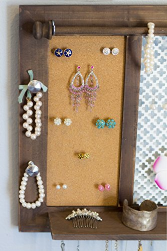 SoCal Buttercup Deluxe Rustic Wood Jewelry Organizer - from Hanging Wall Mounted Wooden Jewelry Display - Organizer for Earrings, Necklaces, Bracelets, Studs, and Accessories by SoCal Buttercup (Image #5)