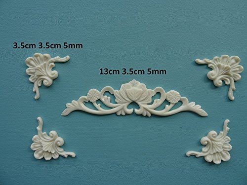 - Decorative center and plume scroll corners x 4 applique onlay furniture moulding O31A