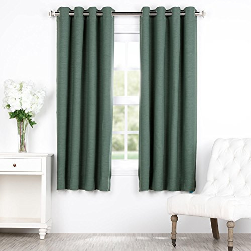 HPD HALF PRICE DRAPES BOCH-PL1605-63-GR Bellino Grommet Blackout Room Darkening 63 Inch Curtain, 50 X 63, Jadite