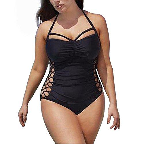 Women's Plus Size Sexy Swimsuit One Piece Slim Swimwear Bathing Suits Bikini Black (Tag XXXXL/ (Plus Size Bikinis)