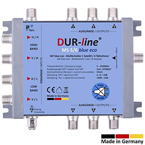 DUR-line MS 5/6 Blue eco Stromspar Multischalter - für 6 SAT ... on