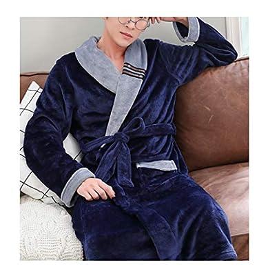 Femaroly Men Coral Velvet Robe Autumn and Winter Soft Durable Dressing Nightgown Bathrobe