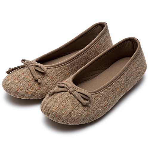 Women's Comfy Colored Knit Memory Foam Ballerina House Slippers Shoes with Anti-Slip Rubber Sole (X-Large / 11-12 B(M) US, Camel) (Comfy Bow)