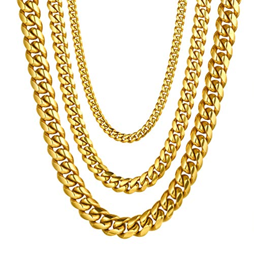 Miami Cuban Link Mens Chain Necklace,18K Real Gold Plated,Hiphop Gold Chain for Men Women Hip Hop Jewelry Layering Layered Collar Necklace (Real Hip Hop Jewelry)