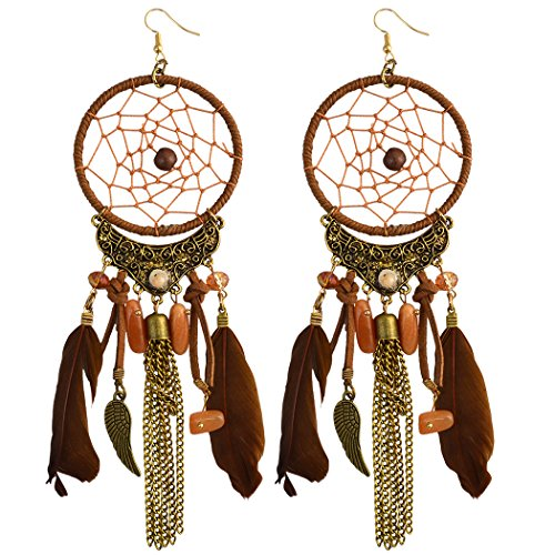 Feather Dream Catcher Leather Resin Beads Wings Chain