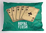 Lunarable Vintage Pillow Sham, Retro Casino Poster Print Royal Flush with Game Cards Lucky Joker Hobby Image, Decorative Standard Size Printed Pillowcase, 26 X 20 inches, Sea Green Beige