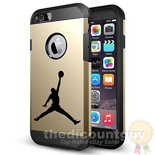 iPhone 5 & 5s - Dual Layered Air Basketball Defender Protection Case Jordan Chrome Apple Window Hole Storage ID Jumpman Durable Cover (v3 - iPhone 5 & 5s - Apple Window - [Gold])