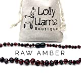 Raw Baroque Baltic Amber Teething Necklace for Babies (Unisex) Drooling & Teething Pain Relief - Certified Genuine Baltic Amber Chip Bead by Lolly Llama - Dark Cherry (13 Inch)