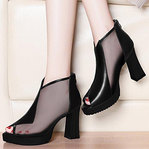 zapatos pescado Verano de Spring High 2018 boca calzado grueso Heels Tacones New Jqdyl con Shoes un black con solo de qwCv60cX