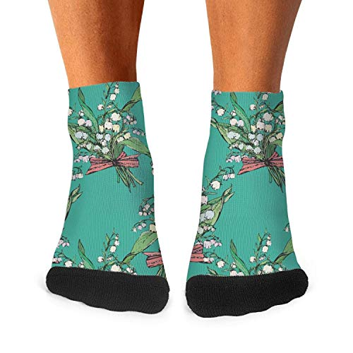 - Men's Moisture Crew Socks green wild lily flower Ankle Socks