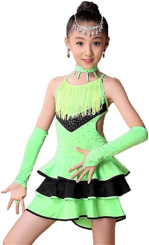 Faldas de danza para niña, Vestido de baile latino sin mangas para ...