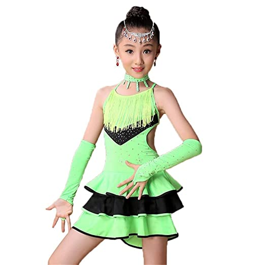Faldas de danza para niña, Vestido de baile latino sin ...