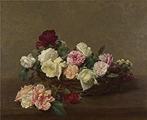 Oil painting 'Ignace Henri Thodore Fantin Latour A Basket of Roses ' printing on high quality polyster Canvas , 8 x 10 inch / 20 x 25 cm ,the best Home Theater artwork and Home artwork and Gifts is this Cheap but High quality Art Decorative Art Decorative Canvas Prints