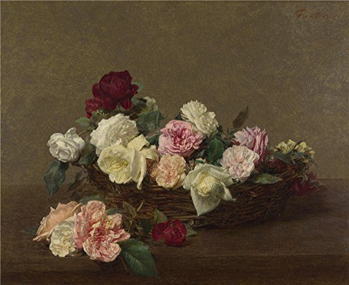 The Perfect effect canvas of oil painting 'Ignace Henri Thodore Fantin Latour A Basket of Roses ' ,size: 12 x 15 inch / 30 x 37 cm ,this Best Price Art Decorative Canvas Prints is fit for Bar decoration and Home decor and Gifts - Shirt Basket Print Weave