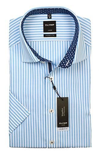 OLYMP Luxor modern fit Hemd Halbarm New Kent Kragen Streifen hellblau