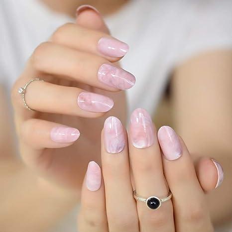 EchiQ - Puntas de uñas postizas con patrón de mármol rosa, ovaladas, redondas,