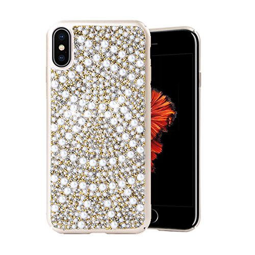 Re iPhone X Case Premium Handmade Bling Crystals Diamonds Rhinestones and Pearls Hybrid Protective Case Cover for Apple iPhone X (iPhone 10) (Gold)