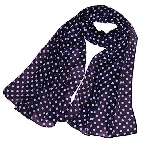 LMVERNA chiffon flower scarf Women's Floral Scarves printe chiffon scarf polka dot shawls Long Scarf Wrap (Navy Blue+White)