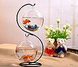 サスペンション ガラス球金魚鉢水耕栽培植物ホブ鉄形マイクロ風景サスペンションハートガーデンの装飾ラック (Type1)