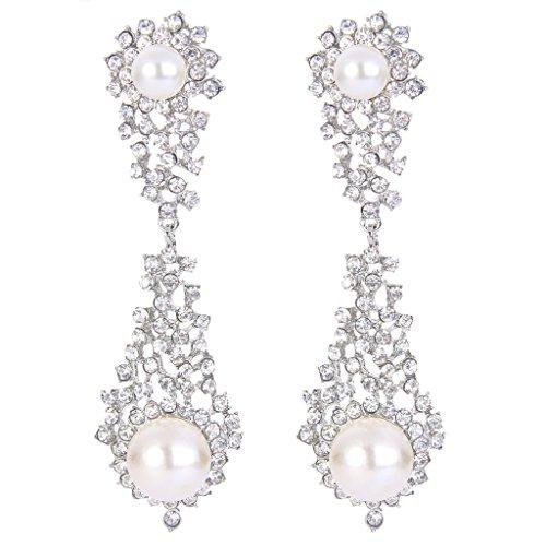 EVER FAITH Bridal Silver-Tone Dangle Earrings Simulated Pearl Clear Austrian Crystal by EVER FAITH