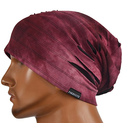 JESSE · RENA Chic Striped Thin Baggy Slouch Summer Beanie Skull Cap Hat (9A-Claret) - Lightweight Striped Cap