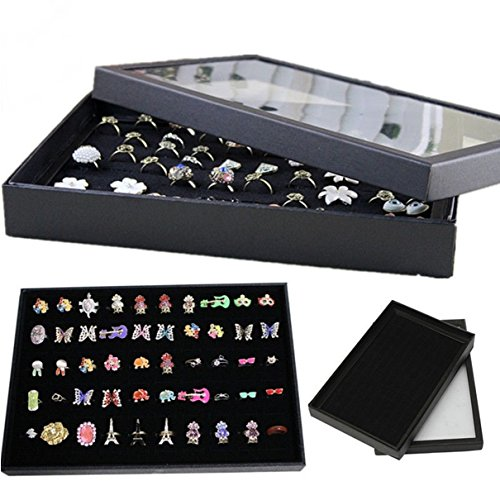 Titanium Solo Costume (100 Ring Jewelry Display Storage Box Tray Show Case Earrings Holder)