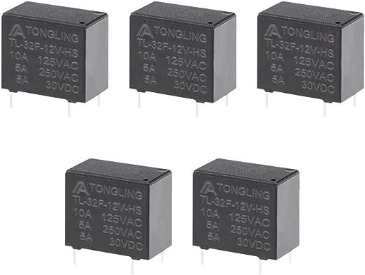 uxcell 10 Pcs 12VDC 250VAC 10A 4 Terminal SPST NO Mini Power Coil Relay T73