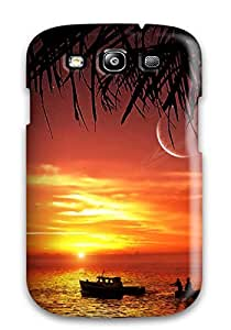 Durable Protector Case Cover With Two Fishermans And A Boat At The Sunrise Hot Design For Galaxy S3