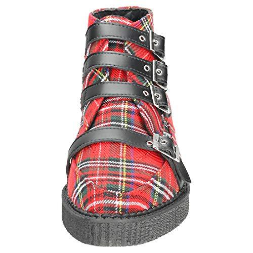 Shoes Plaid Tartan Creeper Uomini Avvio Rosso K Punta Red Multi del T U Cinghia Gli 4pq6gt40w