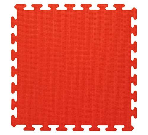 Resistente -Sistema de conexi/ón f/ácil 460419 Lavable Antideslizante Jamara 460419-Alfombra Puzzle 50 x 50 cm 4pz Color Rojo