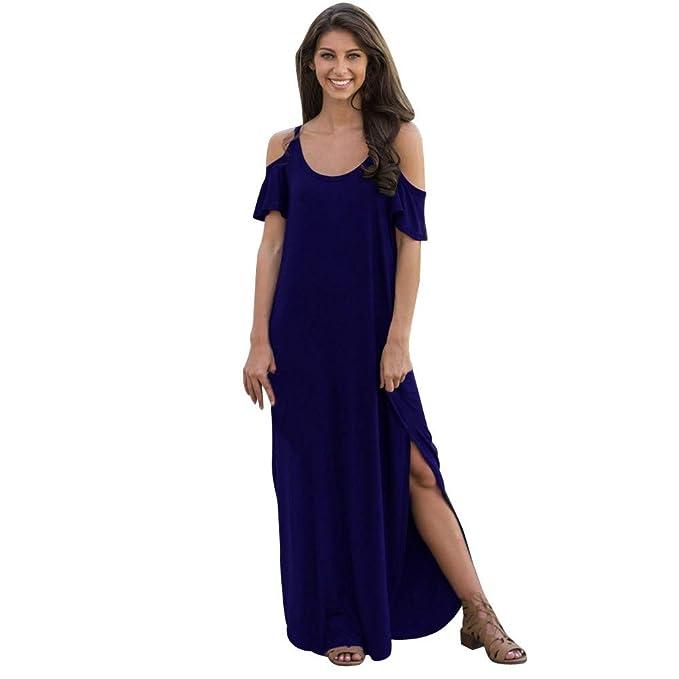 f76f467dc935 NPRADLA Vestido Largo Dividido de Playa de Manga Corta para Mujer ...
