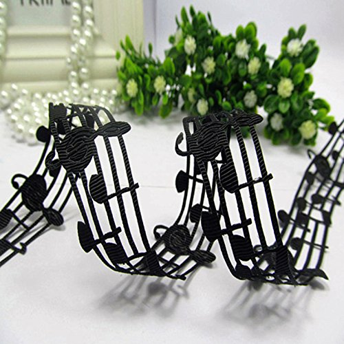 mdribbons 1-1/8 Inch 50 Yards Music Note Shape Hollow Grosgrain Ribbons Black Color