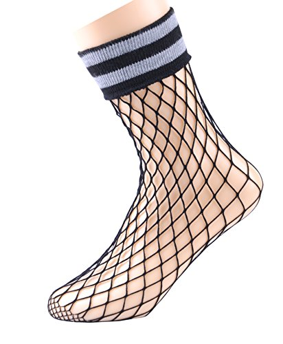 Womens Ankle High Tights Highly Elastic Fishnet Socks (3 Pairs)