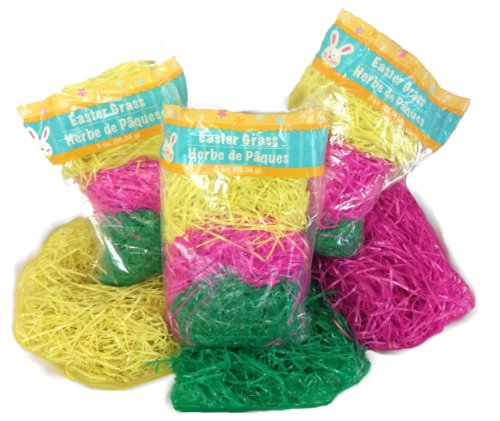 Grass Basket (3 Variety Packs of Multicolored Yellow Pink & Green Reusable Shredded Plastic Easter Basket Grass Bags Bundle 255g Total Party Accessory)