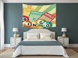 iPrint Polyester Tapestry Wall Hanging,Vintage Decor,Bingo Game with Ball and Cards Pop Art Stylized Lottery Hobby Celebration Theme,Multi,Wall Decor for Bedroom Living Room Dorm