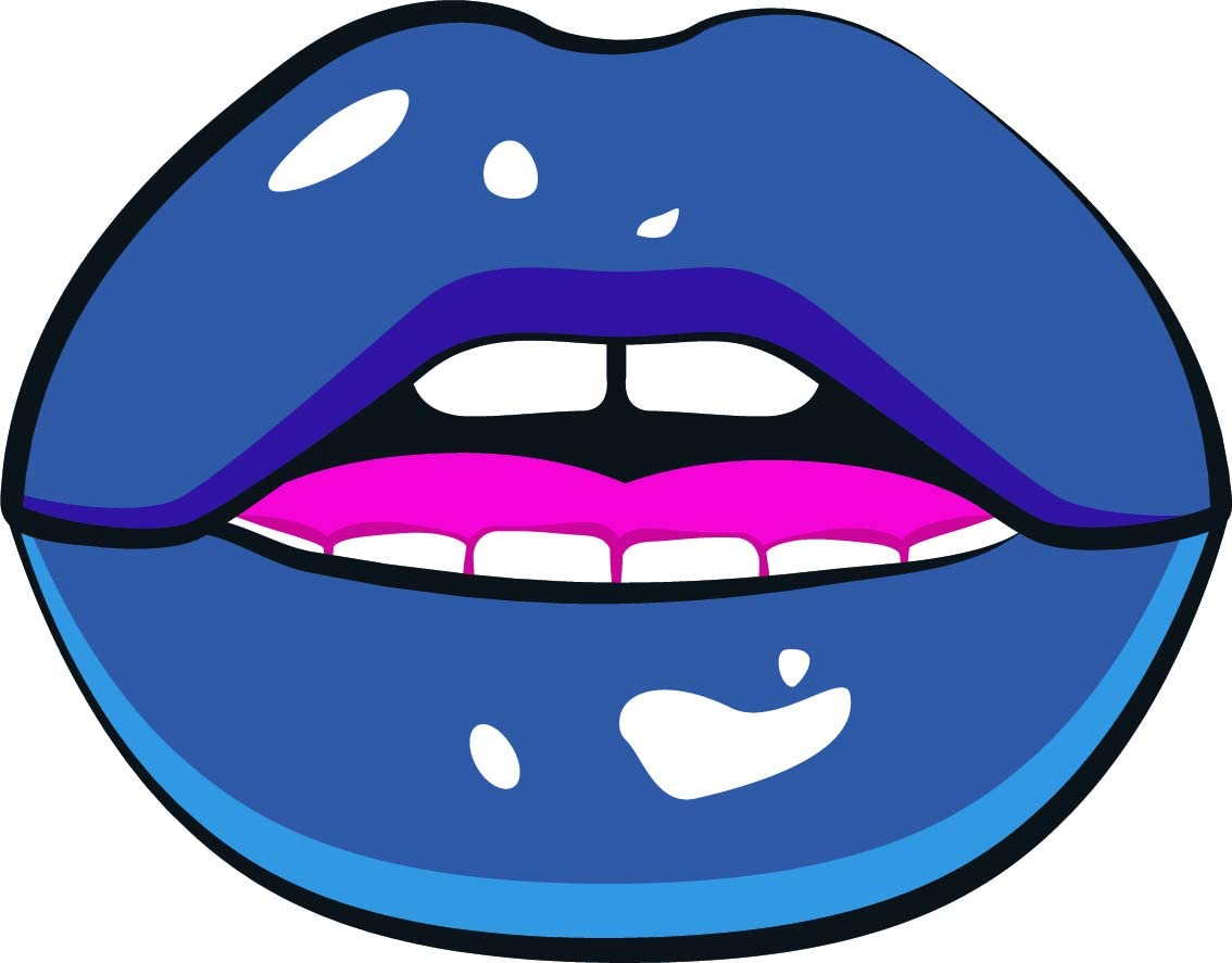 Amazon Com Cool Sexy Plump Big Blue Lips Comic Book Style Design Cartoon Vinyl Sticker Slightly Open With Bottom And Top Teeth Automotive