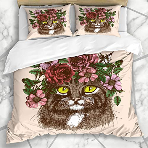 Ahawoso Duvet Cover Sets King 90x104 Hippie Tattoo Maine Coon Cat Floral Nature Wreath Boho Artistic Bohemian Breed Art Microfiber Bedding with 2 Pillow Shams