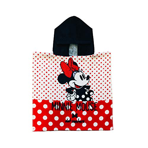 Minnie Mouse Dot Couture Half red and White Polka Dotted Navy Hooded Poncho Girls Towel