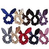 Jaciya 10 Pack Velvet Scrunchy Elastics Rabbit Ears Scrunchies Bobbles Soft Elegant Elastic Hair Bands Hair Tie