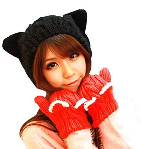 Kingfansion-Cute-Girls-Womens-Cat-Ears-Hemp-Flowers-Knitted-Hat-For-Christmas