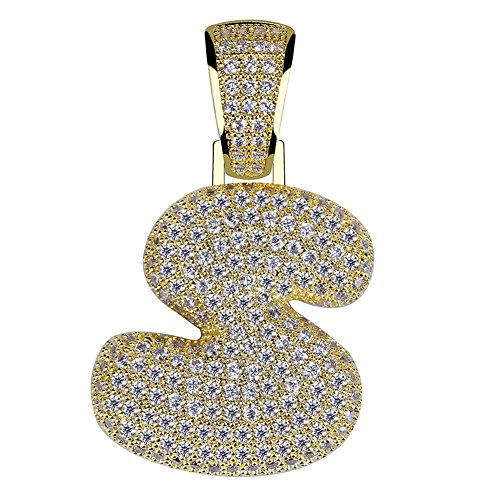 HECHUANG Micropave Simulated Diamond Iced Out Bling Custom Bubble Letters Pendant with Rope Chain (S Gold, 24)