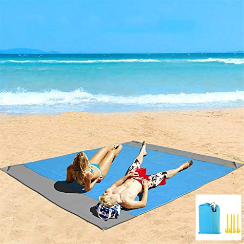 """Eastjing 82"""" x 79"""" Sand Free Beach Blanket Water Resistant & Sand Proof Beach Mat, Soft 70D Ripstop Nylon Pocket Picnic Blanket with 4 Stakes for Travel, Camping, Hiking and Music"""