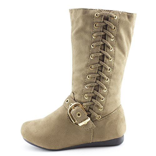 Side Slouch Kid amp; Girls Boots Taupe Toddler Little Link Suede String Kid Zipper Big Faux 5P0ntwq