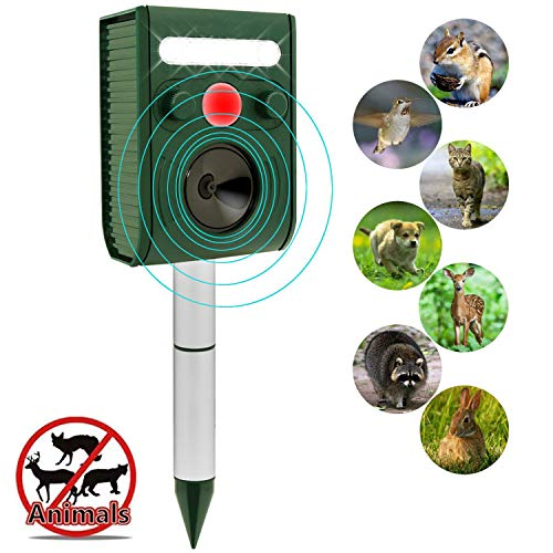 ZOVENCHI Solar Ultrasonic Animal Repeller, Waterproof Solar Animal Repeller Rodent and Pest Repeller Cats, Dogs, Mice, Squirrel Repellent, Motion Activated with Flashing LED Light