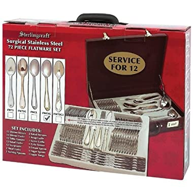 Sterlingcraft High-quality Heavy-gauge Stainless Steel 72pc Flatware And Hostess Set With Gold Trim