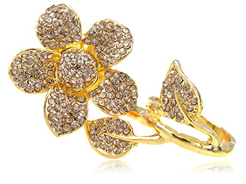 (Alilang Two Fingers Daisy Golden Tone Topaz Smokey Light Crystal Rhinestone Flower Ring)
