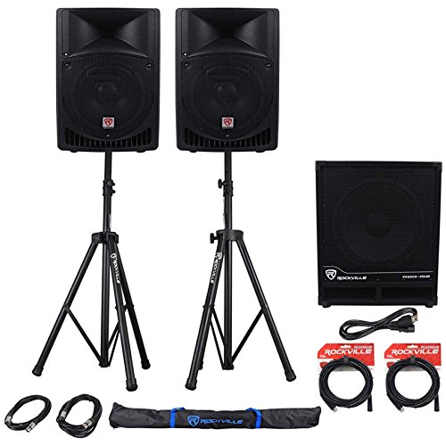Package: (2) Rockville RPG8 2-Way DJ/PA Powered Speakers Totaling 800W With an 8
