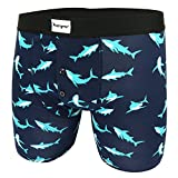 Men's Pouch Boxer Briefs Premium Cotton Button Fly Underwear,Shark Attack Printed Trunks Gift Box