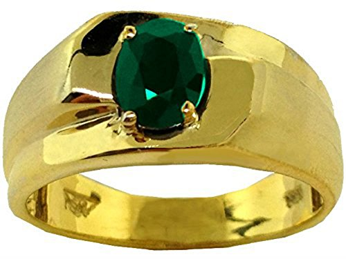 Citrine Emerald Ring (Solitaire Emerald Ring 14K Yellow or 14K White Gold Band)